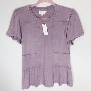 Anthropologie Deletta / Lilac Cap Sleeve Top